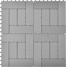 vidaXL 11 stk. grå 30 x 30 cm kompositfliser WPC 1 m2