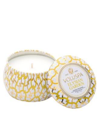 Voluspa Elysian Garden Dec. Tin Candle Hvit
