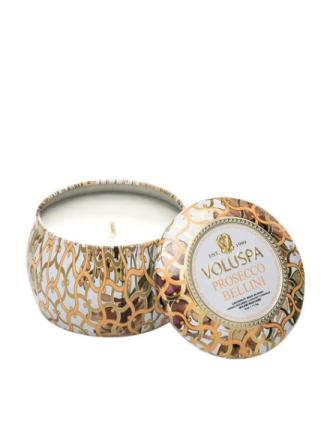 Voluspa Prosecco Bellini Decorative Tin Candle Hvit