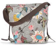 Shoulder Bag Grey Flower Linen