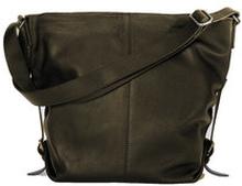Shoulder Bag Brown Grained Leather