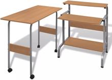 vidaXL Todelt skrivebord og computerbord brun