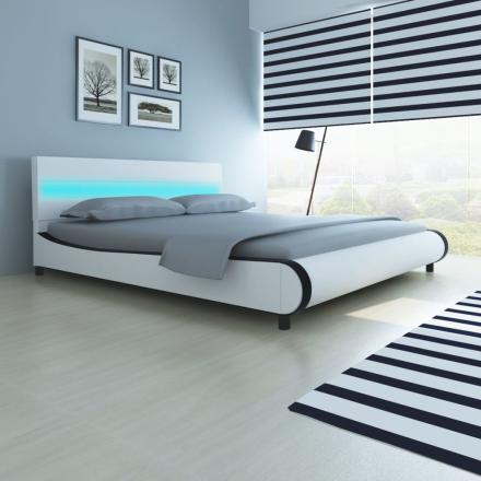 vidaXL Säng med LED i huvudgaveln 180 cm konstläderklädsel vit