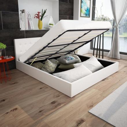 vidaXL seng 180 x 200 cm hydraulisk opbevaring kunstlæder hvid