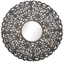 Carve rund spegel 90 cm - Antik träfärg