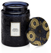 Embossed Large Glass Scented Candle Moso Bamboo