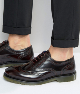Red Tape Brogues In Oxblood - Red