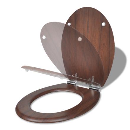 vidaXL WC-istuin soft close MDF yksinkertainen muotoilu puunvärinen