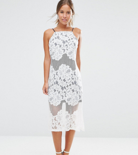 ASOS PETITE Lace Column Dress with Contrast Lining - White