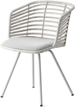 Spin stol Vit/grå, rattan m/ vit ram