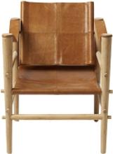 Noble loungestol Bambu/ brun läder