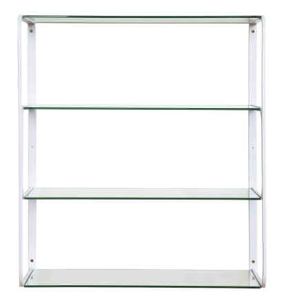 Ellen vägghylla Vitlackad metall/glas 59x22 cm