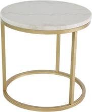 Accent runt lampbord D50 cm - Vit marmor / Mässingsfärgad