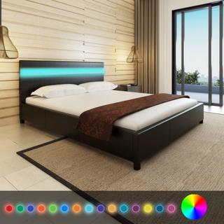 vidaXL Säng med LED i huvudgaveln 200 x 160 cm Svart konstläder