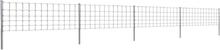 vidaXL Stängsel med stolpar förzinkat järn 50 m 80/6/30