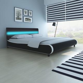 vidaXL Seng med hovedgavl LED lys 180 cm kunstigt læder betræk sort