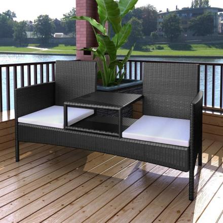 vidaXL Bänk 2-sits med integrerat soffbord konstrotting svart