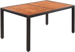 vidaXL Trädgårdsbord konstrotting bordsskiva i akaciaträ 150x90x75 cm