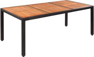 vidaXL Trädgårdsbord konstrotting bordsskiva i akaciaträ 190x90x75 cm