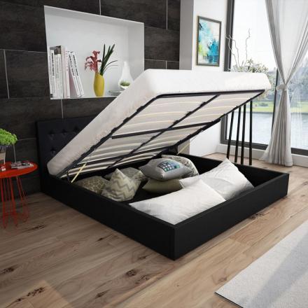 vidaXL Säng med hydraulisk förvaring 140 cm konstläder svart