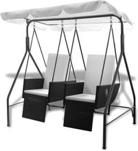 vidaXL Poly rotting hammock med 2 svarta säten