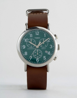 Timex Weekender Chornograph Oversized Leather Watch In Brown - Brown
