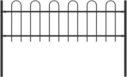vidaXL Trädgårdsstaket med böjd topp stål 1,7x0,6 m svart