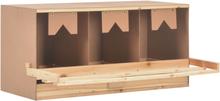 vidaXL rugekasse 3 rum 96 x 40 x 45 cm massivt fyrretræ