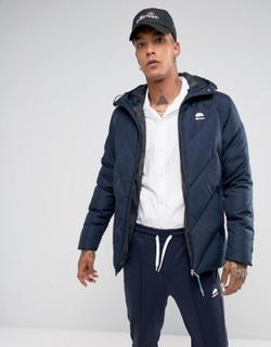 Ellesse Italia Duckdown Puffer Jacket With Hood Logo In Navy - Navy