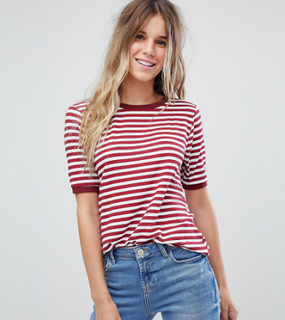 Boohoo exclusive basic stripe t-shirt with contrast collar - Red