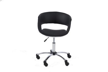 Gramma kontorstol i svart og hvit PU kunstskinn, krom stell.