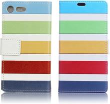 Sony Xperia Xz Premium Mønstertrykk Lær Flip Etui - Fargerik Stripes
