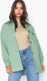 Topshop Sage Shacket With Wool Frakker