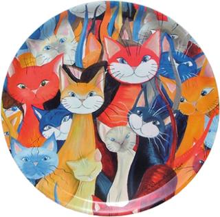 Bricka Mångfald kattmotiv (stor rund)