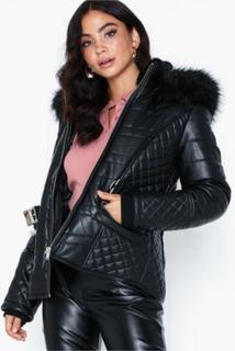 River Island PU Belted Coat Faux fur