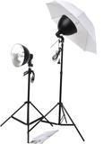 vidaXL Studiobelysning med stativ, paraplyer & ref