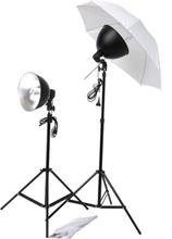 vidaXL Studiobelysning med paraplyer, lampskärmar & stativ