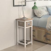 vidaXL Sängbord med 1 låda brun och vit