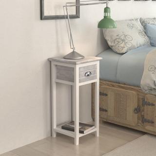 vidaXL Sängbord med 1 låda grå och vit