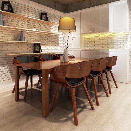 vidaXL spisebordsstole 6 stk. med træstel kunstlæder brun