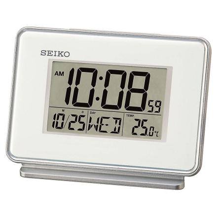 Seiko LCD dobbelt kalender vækkeur - hvid (QHL068W)