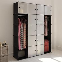 vidaXL modulskab med 14 rum sort og hvid 37 x 146 x 180,5 cm