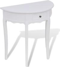 vidaXL Konsolbord med låda halvrund vit