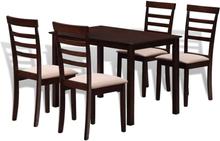 vidaXL Matbord med 4 stolar i massiv trä mörkbrun och gräddvit