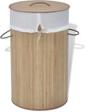 vidaXL Tvättkorg i bambu rund naturfärg