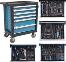 vidaXL værktøjsvogn til værkstedet med 270 stykker værktøj stål blå