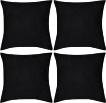 vidaXL 4 Kuddöverdrag i bomull svarta 40 x 40 cm
