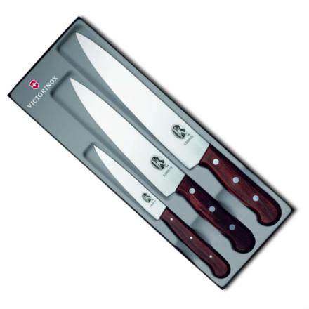 Victorinox knivset 3 delar rosenträ