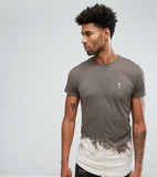 Religion TALL T-Shirt With Bleach Curved Hem - Bei