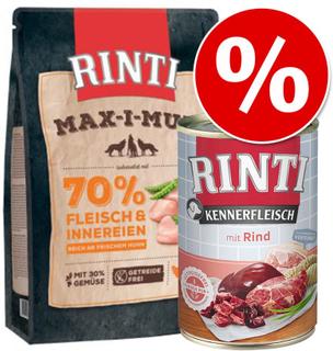 Sparesæt: 6 x 400 g RINTI Mix + 1 kg RINTI Max-i-mum kylling - Sensible Pur Mix + 1 kg Rinti Max-i-mum, kylling